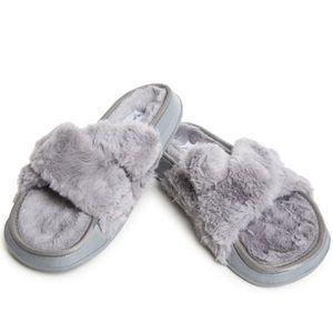 Shoes - Grey Faux Fur Slides